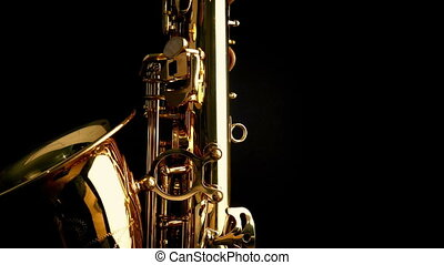 Passing Saxophone Side View - Tracking shot moving slowly...