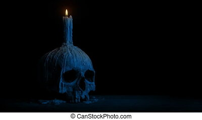 Passing Skull With Candle In The Dark