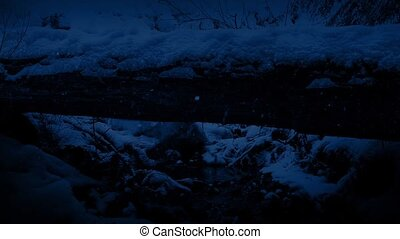 Passing Stream In The Snow At Night