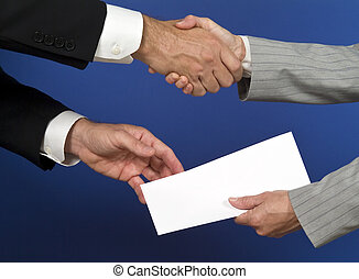 Passing The Envelope - Two people shaking hands and...