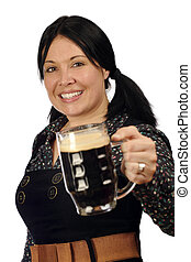Passing the stout - Female serving you a pint of stout.