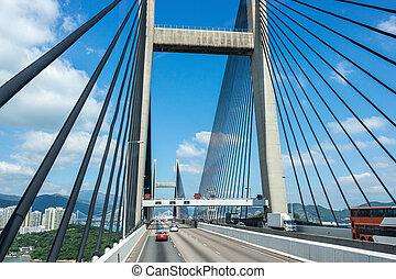 Passing through the Suspension Kap Shui Mun bridge in Hong...
