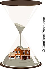 A house inside a hourglass being buried by sand of time, EPS 8 vector illustration