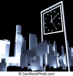 Passing time concept 3d Urban development