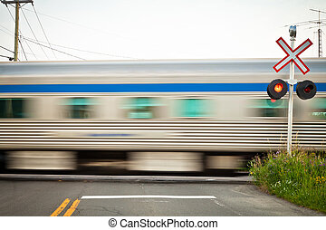 Passing trains at level crossing