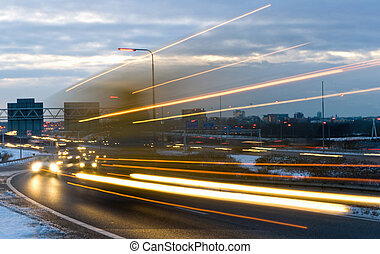Passing truck - Truck passing by on a motorway junction on a...