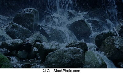 Passing Waterfall In The Evening - Moving past rugged...