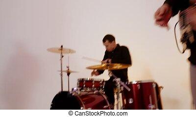 passion, bande, leur, parties, -, batteur, jouer, chanson,...