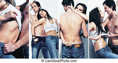 Passion - Collage of a sexy girl and topless guy together