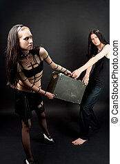 passion fight - gothic emo couple playing role game with old...