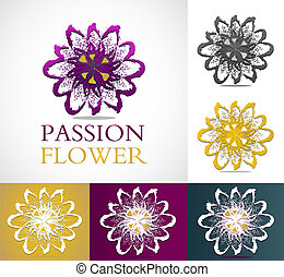 Abstract passion flowers