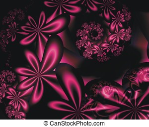 Passion Flowers Abstract - Pink daisy chain flowers,...