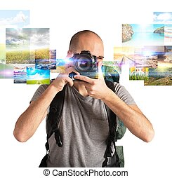 Photographer boy shows his passion for photography