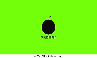 Passion fruit icon animation best simple object on green screen background