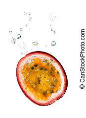 Passion fruit in water with bubbles