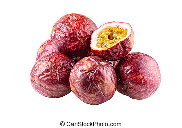 Passion fruit isolated on a white background With clipping path