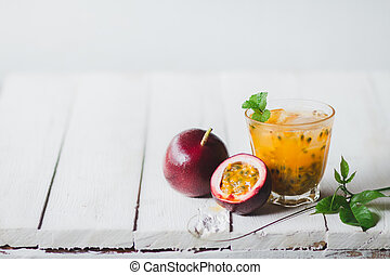 Passion fruit juice In a glass bottle white background
