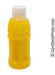 passion fruit juice in plastic bottle isolated on white...