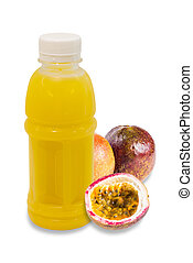 passion fruit juice in plastic bottle with fruit isolated on...