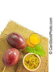 Passion fruit juice on a white background, Passion fruit on white, There are sacks laid on the floor