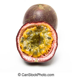 Passion Fruit one sliced isolated agaginst white background.