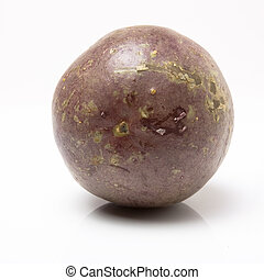 Passion Fruit - Single purple Passion Fruit isolated against...