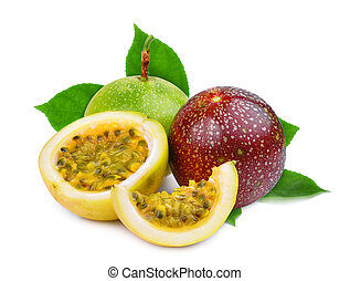 passion fruit with green leaves isolated on white background