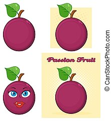 Passion Fruit With Heart Leaf Cartoon Drawing Simple Design Set 1. Collection