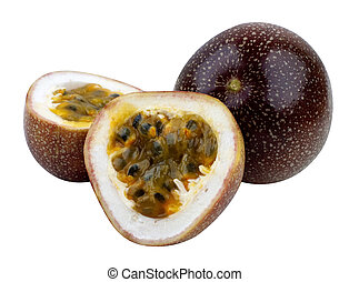 Passion Fruits. - Passion Fruits isolated on white with...