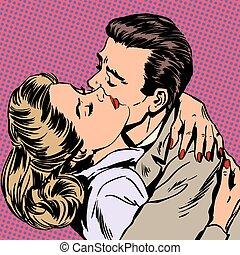 Passion man woman embrace love relationship style pop art...