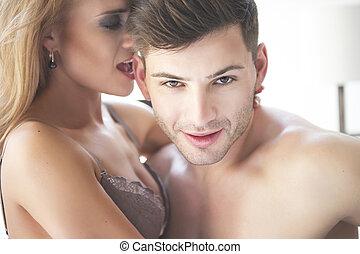 passion, portræt, i, par, forelskelse