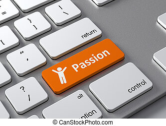 Passion - A keyboard with a orange button-Passion