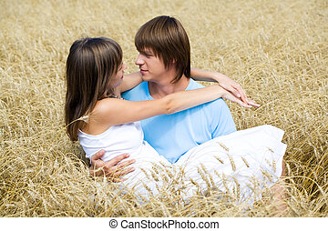 Passion - Portrait of man holding beautiful girlfriend on...