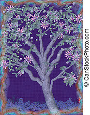Passion Tree - A digital illustration of a passion flower...