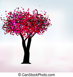 Passion tree, romantic template card. EPS 8