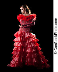 Passion woman flamenco dancer in red costume