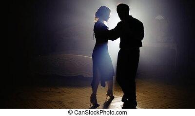 Passionate couple dancing salsa - beautiful couple dancing...