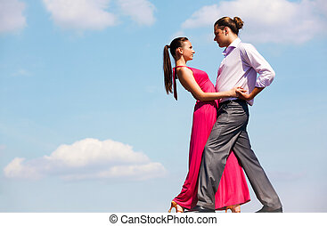 Passionate couple - Portrait of passionate couple dancing in...