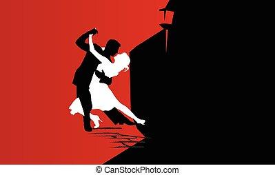 passionate dance card - Loving couple dancing. Dance School....