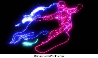 Passionate Flaming Snowboarding Athlete Extreme Pose...