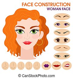 Passionate girl. Woman face constructor. Cartoon style.