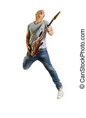 passionate guitarist jumps in the air over white