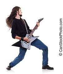 passionate guitarist playing his electric guitar over white