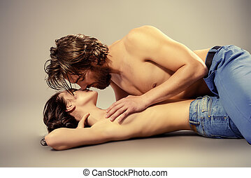 passionate kiss - Beautiful passionate lovers. Love concept....