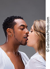 Passionate kiss. - Kiss. Shot of a passionate loving couple.