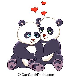 two pandas are embracing with love