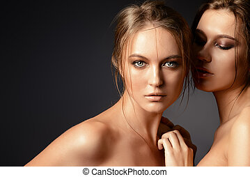 passionate - Portrait of two beautiful sensual women.