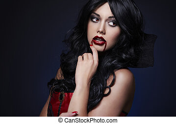 Passionate vampire with black hair