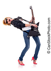 blond girl playing her electric guitar