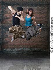 passione, ballo, coppia, jumping.
